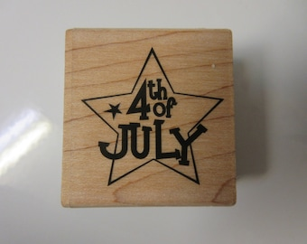 July 4th Star Rubber Stamp-4th Of July Stamp