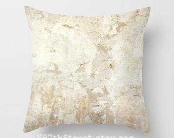 CA MISSION WALL Pillow Covers. Photo Art, TMCdesigns. Spanish. Stone. Rustic. Warm Beige Nuetrals. Natural. Historic. Faith. Personalize.