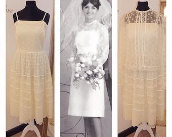 Lace Short wedding dress, Tea length Wedding Dress, Alternative, Lace, Boho, 1960s wedding dress, Super cute, Simple, Vintage UK 8/10 US 4/6