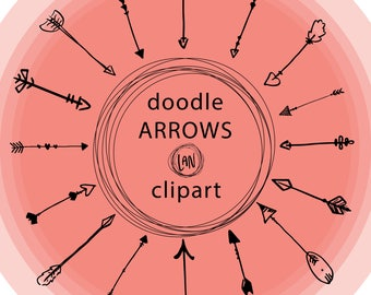 Hand Drawn ARROWS Clip Art, Doodle Clipart, Hand Drawn, PNG, SVG, Instant Download