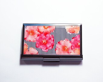 Business Card Case, Pink Orange Floral, Card case, business card holder, Gift for Her, Modern Design, Pink Flowers, business woman (7612)
