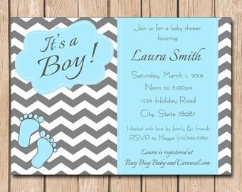 Baby Boy Shower Invitation   It's a Boy, Chevron, baby feet, photo option - 1.00 each printed