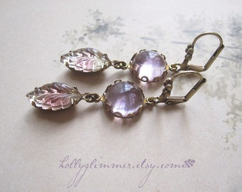 Lavender Rhinestone Earrings / Magic Leaves / Vintage Assemblage Earrings / Boho Chic / Mori Girl
