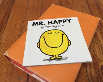 Mr. Happy Book by Roger Hargreaves 1980 Children's Book Vintage Smiley Face Paperback
