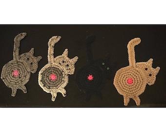 Crochet Cat Butt Coasters
