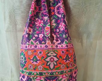 Fluo printed bag, boho bag, shoulder bag