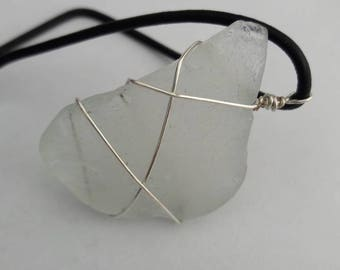 Ocean Glass Pendant wrapped with Silver Wire