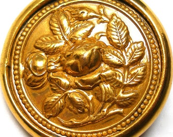 "1800s Lg Rose BUTTON, Antique Victorian flowers on brass, 1 3/8""."