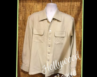 1950s vintage reproduction by Hollywood Rogue sage green hounds tooth shirt Currently only available in Large