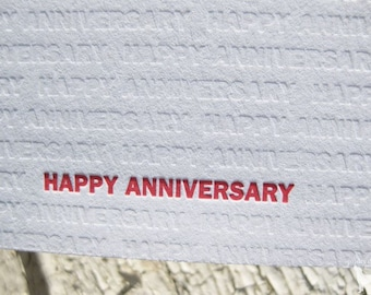 Anniversary Letterpress Greeting Card - Modern Design w/ Blind Impression (single)