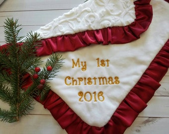 Newborn Baby First Christmas- Personalized White blanket shower gift