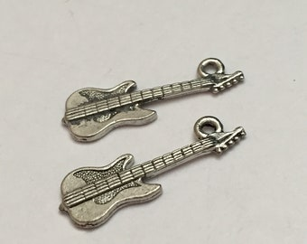 2 pc pewter electric guitar charm, musical instrument charm, jewelry supplies