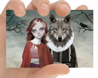 ACEO Card | Fairytale ACEO Card | Red Riding Hood | ACEO Art Card | Girl And Wolf | Red