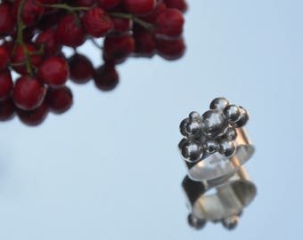 Sterling silver band ring with bubbles
