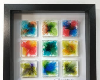 Cathedral Window, Colorful Framed Tile Art