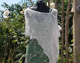 White poncho, summer poncho, cotton knit