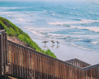 San Elijo State Beach, Surfers, Surfboards, Ocean, Sand, Stairs, Cardiff by-the-Sea, Encinitas, San Diego, California