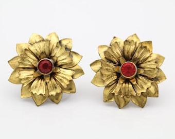 Vintage Sunflower Earrings Screw-Back Gold on STERLING SILVER w Red Rhinestones. [7529]