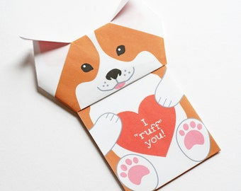 "Printable ""Puppy Love"" DIY Origami Valentine/Anniversary Card"