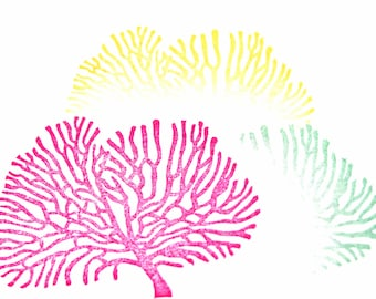 Coral Hand Carved Rubber Stamp