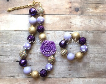 Toddler Purple and Gold Chunky Necklace, Purple and Gold Baby Necklace, Purple and Gold Necklace, Purple and Gold Girls Necklace
