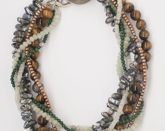 Multicolor Twisted Necklace Braided Beaded Necklace Multi Layered Necklace Statement Necklace Pearl Necklace Chunky Necklace Gem Necklace