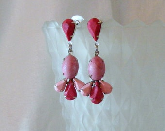 Rose and Pink Prong Set Dangle Statement Earrings