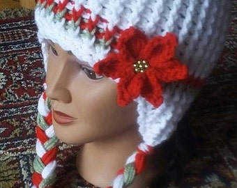 Crochet Christmas Pointsetti Ponytail Earflap Hat Pattern Only