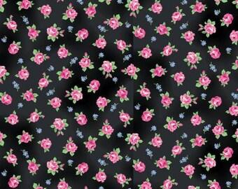 RURU  Ruru Bouquet Tea Party  Cotton Fabric Quilt Gate RU2270-16F Small Roses on Black