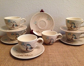 Red Wing Pottery Bobwhite Pattern Cups and Saucers Hand Painted Set of 6