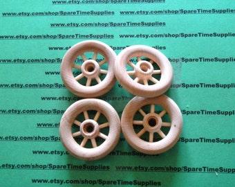 """Spoke Wheels - 2"""" diameter - 1/4"""" hole - unfinished wood - 4 pcs - #SW2000WW4"""