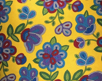Fabric with beeded flowers.  Navajo beeding. Mexican fabric.