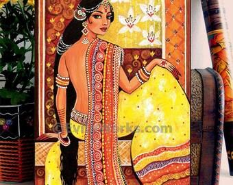 Indian woman painting, feminine beauty, Goddess art, home decor wall decor woman art, ACEO wood block, CG