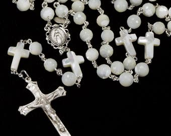 Mother of Pearl Catholic Rosary with Crosses - Handmade Gift, MOP, Sterling Silver, Miraculous Center - Heirloom Rosaries for Men & Women