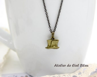 Hat Necklace, Mad Hatter Necklace, Antique Bronze Hat Necklace, Mini Hat Necklace, Alice in Wonderland Mad Hatter Charm Necklace