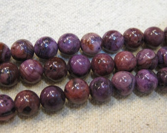 Purple Crazy Lace Agate Round Gemstone Beads 6mm 25 beads per 8 inch Strand