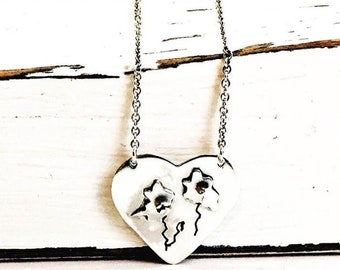 Heart Necklace Sterling Silver - Flower Necklace Sterling Silver - Flower Heart Necklace