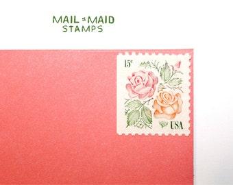 Medallion Roses    Set of 10 unused vintage postage stamps