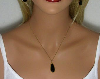 Black Onyx Necklace, Drop Necklace, Onyx Pendant, Double Sided, Long Drops, Teardrop Beads, Faceted Stone, Gold, Silver