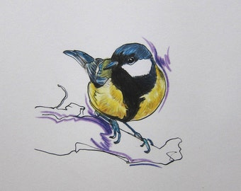Great tit original drawing