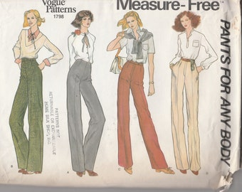 "Vogue Patterns 1798  Measure Free Pants for Any Body Size 26.5""  UNCUT"