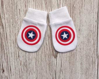 Avengers Captain America Inspired Baby Scratch Mitts/Mittens