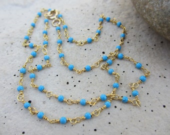 Turquoise Gold Necklace, Wire Wrapped Necklace, Turquoise Necklace, Turquoise Chain, Tiny Turquoise Bead Necklace, Irisjewelrydesign