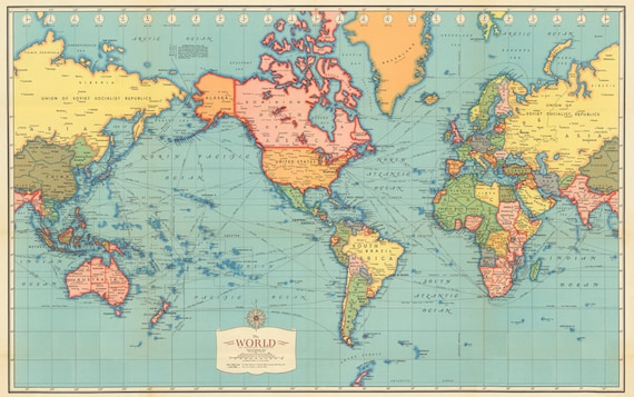 World map printable digital downloadntage world map old world map printable digital downloadntage world map old world map vintage art image instant digital downloadintable pastel map gumiabroncs Choice Image