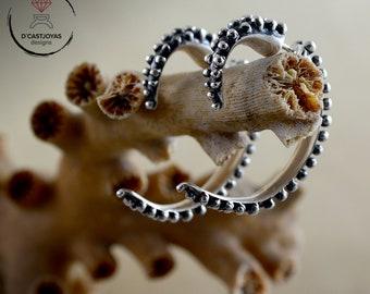 Octopus Silver hoop earrings, Sterling silver dilator, Tentacle Octopus earring, Punk style, Gothic jewelry, Sea jewelry, Unisex earrings