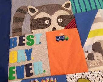 memory quilt created from your child's treasured baby clothes