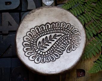 Jewelry dish, rustic bowl, trinket bowl, paisley bowl, ring dish, polymer clay,