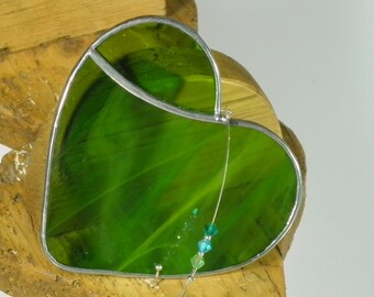 Moss green Stained glass Heart Suncatcher & Window ornament
