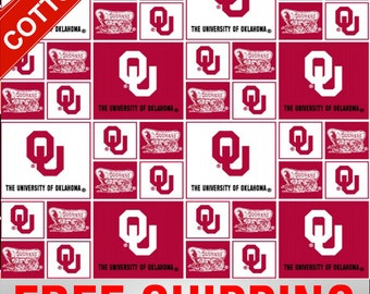 "University Oklahoma Cotton Fabric Sooners NCAA OU-020 45"" Wide Free Shipping"