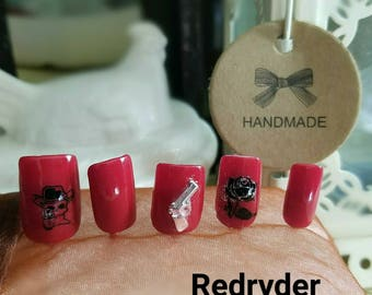 Rachel'sOriginalNails introduces red Ryder to the Skull collection of affordable quality nails.